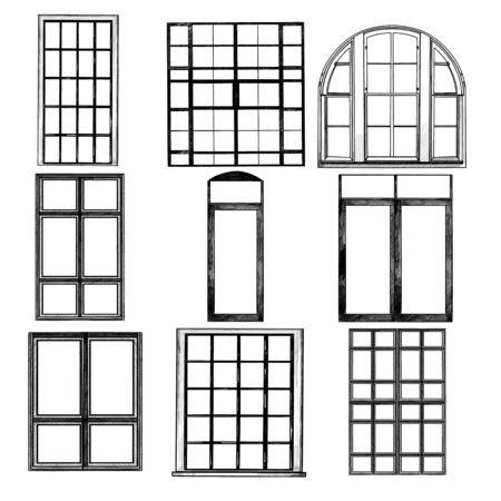 set of Windows in loft style, sketch vector graphics isolated monochrome illustrations Illusztráció