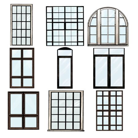 set of Windows in loft style, sketch vector graphics isolated color illustrations