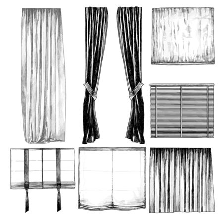 set of curtains and blinds for Windows in the loft style, sketch vector graphics isolated monochrome illustrations