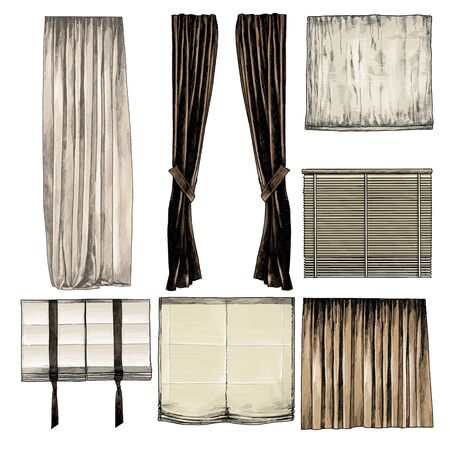 set of curtains and blinds for Windows in loft style, sketch vector graphics isolated color illustrations