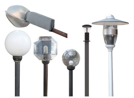 set of street mounted and ground lights in a modern style isolated cut out on a white background