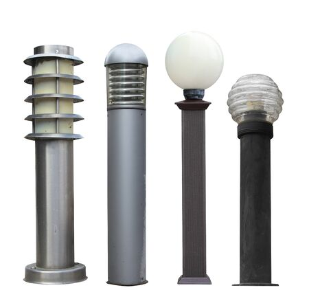 set of street ground lights in a modern style isolated cut out on a white background