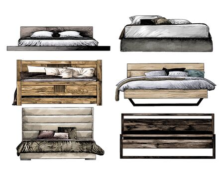set of beds front view in loft style, sketch vector graphics isolated color illustrations