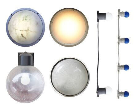 set of street wall lights and light bulbs isolated cut out on a white background