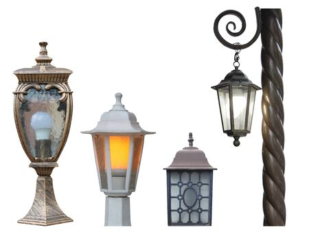 set of street mounted wall and ground lights in classic old style isolated cut out on a white background