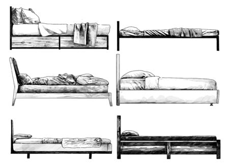 set of beds side view in loft style, sketch vector monochrome graphics isolated on white background Stock fotó