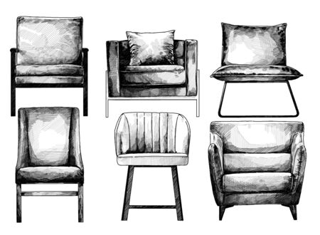 set of chairs view straight in loft style, sketch vector monochrome graphics isolated on white background