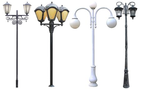 set of long street lights isolated cut out on a white background
