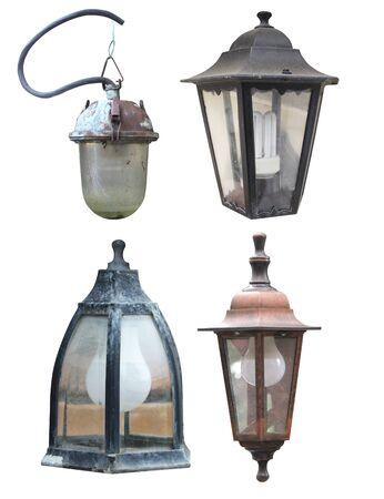 set of street mounted wall lights in classic old style isolated cut out on a white background