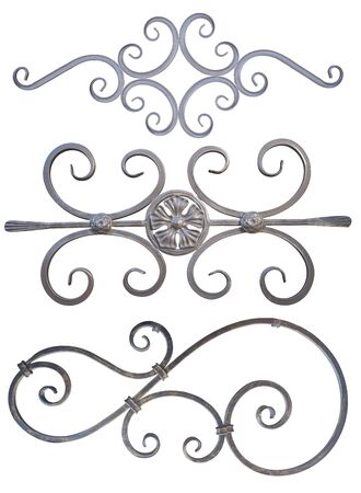 set of forged metal ornaments patterns on fences gates and doors exterior, isolated on a white background cut out