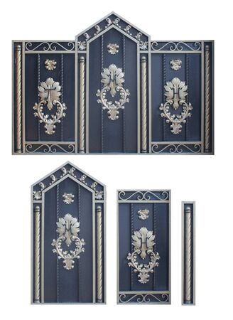 wrought iron gates and doors are a set of several elements,image on a white background isolated