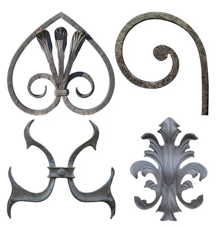 elements for forged metal products of different colors for gates and doors,image on a white background isolated