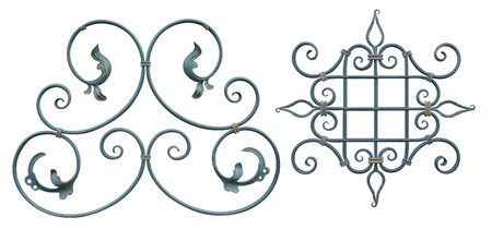forged element of steel covered with turquoise paint with curls, bends and plant elements for gates and doors,image on a white background isolated Stock fotó