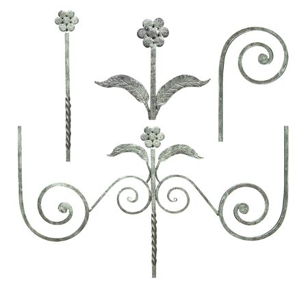 a wrought-iron element made of white steel with swirls, curves and plant elements is decorated with a small flower for gates and doors,image on a white background isolated Stock fotó