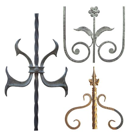 elements for forged metal products of different colors elongated shape with decorations for gates and doors,image on a white background isolated
