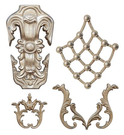 forged element of steel covered with Golden paint with curls, bends and plant elements for gates and doors,image on a white background isolated Banque d'images
