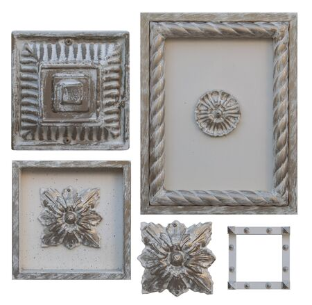 elements for forged metal products of different colors rectangular and square shapes with decorations for gates and doors,image on a white background isolated