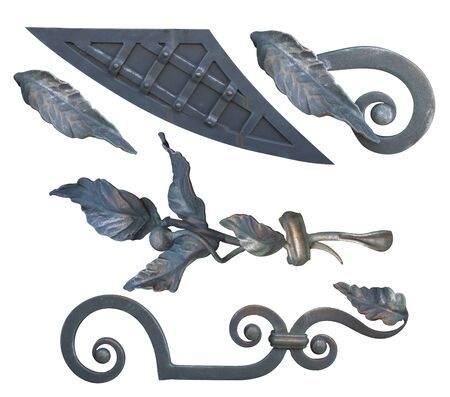 forged black steel element with curls, bends and plant elements for gates and doors, image on a white background isolated