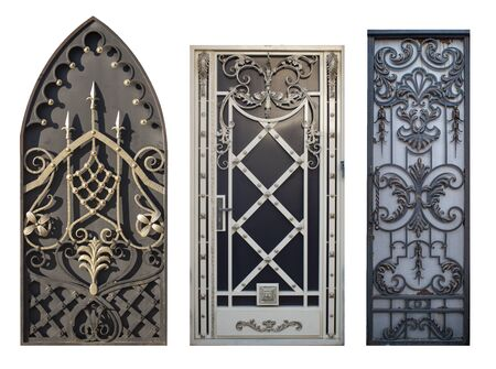 set of forged gates with a lot of details,image on a white background isolated Stock fotó