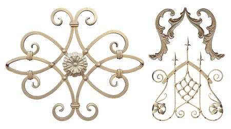 forged element of steel covered with Golden paint with curls, bends and plant elements decorated with flowers sharp spires for gates and doors,image on a white background isolated Stock fotó