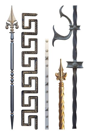 elements for forged metal products of different colors elongated shape for gates and doors,image on a white background isolated