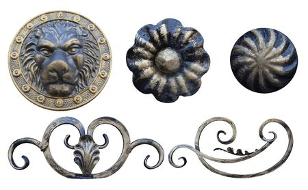 round elements for forged metal products of different colors decoration for gates and doors,image on a white background isolated Stock fotó