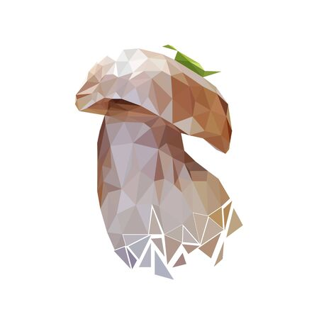 white mushroom with a leaf on top stylized from triangles colored