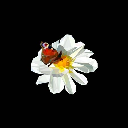 a Dahlia flower with a butterfly sitting on a Bud stylized from triangles colored