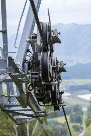 polea: Mecanismo del teleférico Foto de archivo