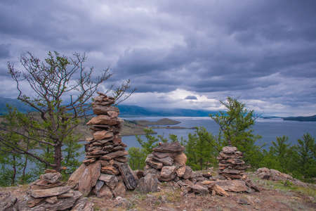 shamanism: The Lake Baikal. Shamanic rituals Stock Photo
