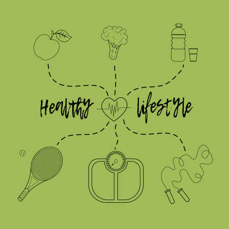 Vector illustration on the theme of a healthy lifestyle to advertise the website. Infographics on sports and healthy eating. Diet food and sports activities.