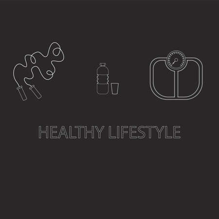 Flat icons vector illustration on a healthy lifestyle theme for advertising on a dark background site. Infographics on healthy eating and active lifestyle for banner screensavers drawn in chalk.16.14 Иллюстрация