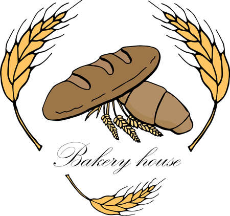Vector drawing of bakery products drawn by hand. Cartoon image of fresh pastries and wheat ears. Emblem in the form of illustrations for signs bakery with a place for the name. Bakers family crest.2