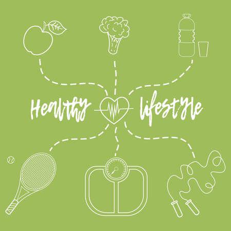 웹사이트를 광고하기 위해 건강한 생활 방식을 주제로 한 벡터 삽화. 스포츠와 건강한 식생활에 관한 인포그래픽. 다이어트 식품 및 스포츠 활동.1