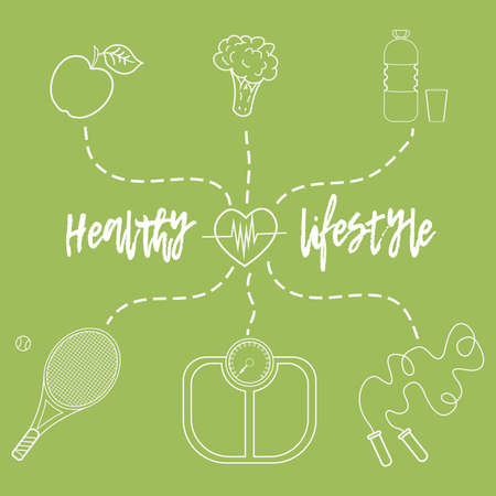 Illustrazione vettoriale sul tema di uno stile di vita sano per pubblicizzare il sito web. Infografica su sport e alimentazione sana. Alimenti dietetici e attività sportive.1