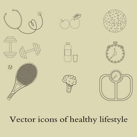 The day of the doctor. A set of flat icons, vector illustrations on the theme of a healthy lifestyle for advertising on the site. Infographics on healthy eating and active lifestyle for designers. Stock Vector - 128844842