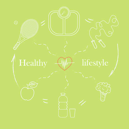 Vector illustration set on the theme of a healthy lifestyle to advertise the website. Infographics on sports and healthy eating. Diet food and sports activities.2  イラスト・ベクター素材