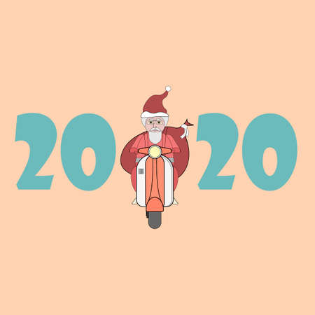 Santa Claus rides a retro scooter with a bag of gifts behind his back. Christmas greeting card. New year 2020. Santa drives the transport. Çizim
