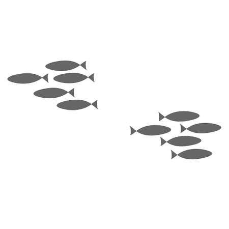 The concept of discord in society. Fight of clans, resentment against friends. Silhouette of a flock of fish swimming on a white background. Coloring on the theme of marine fauna. Vector illustration. Vettoriali