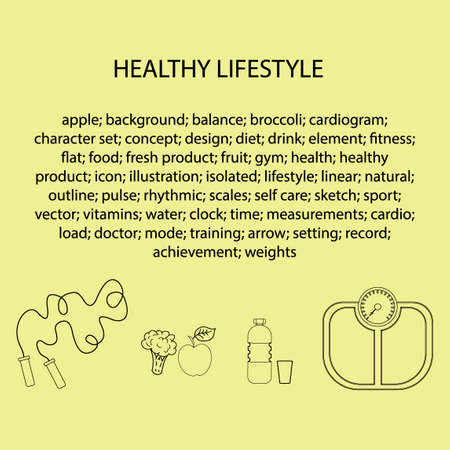 Flat icons vector illustration on the theme of healthy lifestyle for advertising on the website. Infographics on the topic of healthy eating and an active lifestyle for banner screensavers.