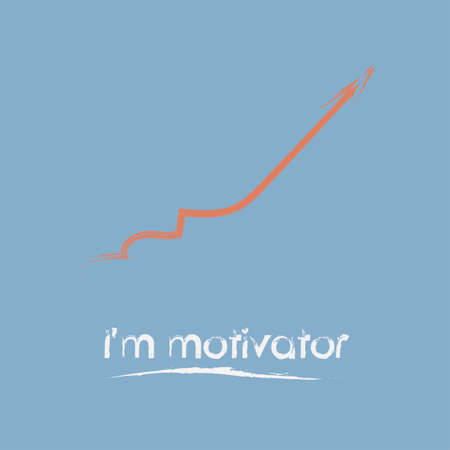Vector design inspiring and encouraging to follow me. Motivational banner calling to be assertive. Graphical image in the form of a steadily rising chart.