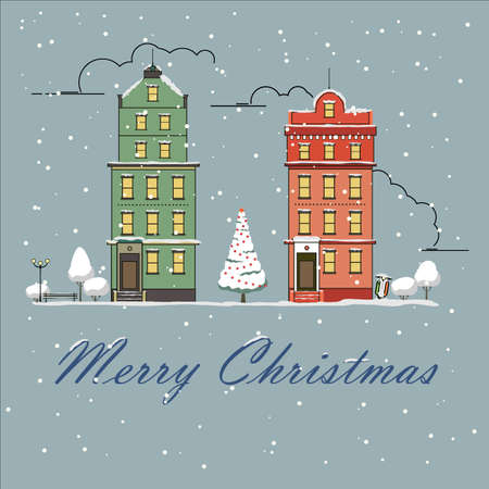Christmas city snow-covered landscape. Vector illustration. New year greeting card. City buildings in the snow.0 Ilustração