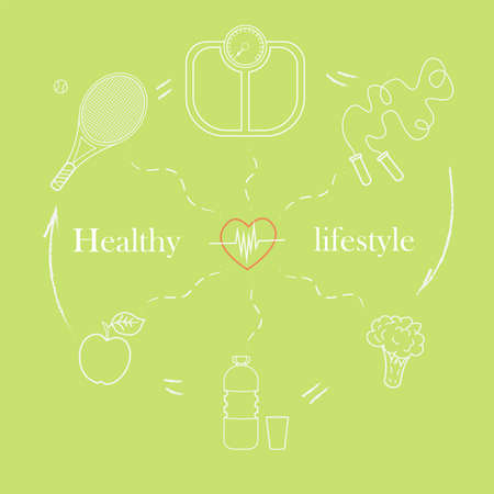 Vector illustration set on the theme of a healthy lifestyle to advertise the website. Infographics on sports and healthy eating. Diet food and sports activities.2 Ilustração