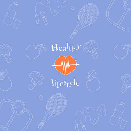 Vector illustration on the theme of a healthy lifestyle for advertising on the site. Vector pattern on blue background on sport and food theme for wrapping paper. Diet food and sports.6_0