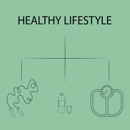 Flat icons vector illustration on the theme of healthy lifestyle for advertising on the website. Infographics on the topic of healthy eating and an active lifestyle for banner screensavers.5_0 Ilustração