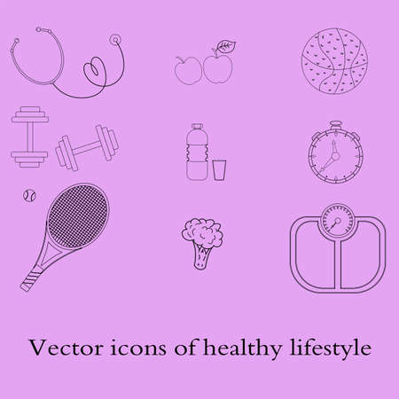 A set of flat icons, vector illustrations on the theme of a healthy lifestyle for advertising on the site. Infographics on healthy eating and active lifestyle for designers.16-15
