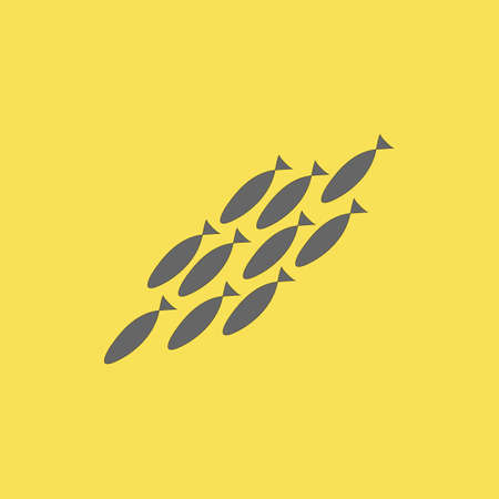 Silhouette of a flock of gray fish diving on a yellow background. Coloring on the theme of marine fauna. Vector illustration of sea animals for printing on textiles Vettoriali