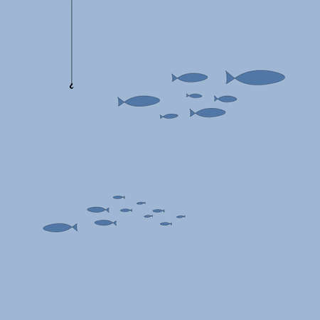 Silhouette of a flock of fish swimming away from the hook. Coloring on the theme of marine fauna. Vector illustration of sea animals for printing on textiles. The concept of lack of interest in anythi