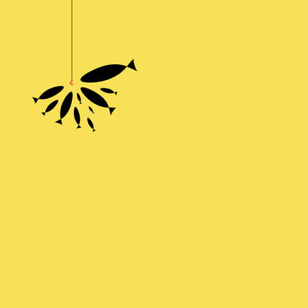 Silhouette of a flock of fish eating bait on a hook on a yellow background. Coloring on the theme of marine fauna. Vector illustration of sea animals for textile printing