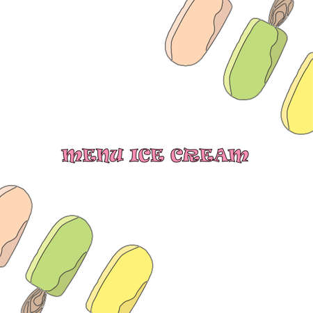 Template for a menu of ice cream in the cafe. Color vector illustration of ice cream on stick on isolated background. Place to write the composition of the product, its cost and name. Иллюстрация